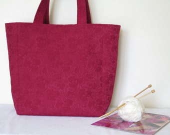 Gingko Tote in Red Brocade
