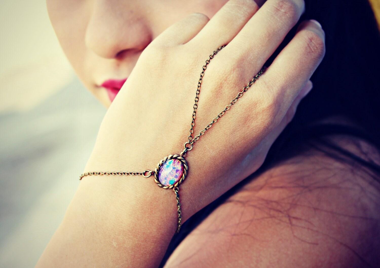 pink opal slave bracelet opal hand chain ring bracelet