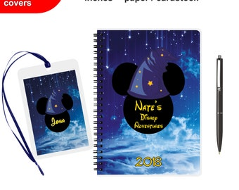 Disney Autograph book Personalized Spiral Notebook Writing journal Mickey Mouse Custom Signature Travelers Kids Girls Diary for boys 2017