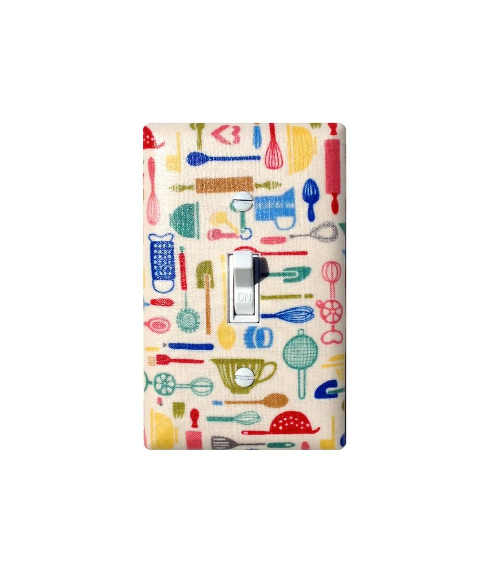 Single Switch Plate Covers Retro Kitchen Utensil Light Switch Plate Cover  Vintage 50S