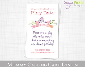 PLAY DATE card // Mommy Business card // mom of card // Mommy Calling Card // End of the school year card // Printable JPEG