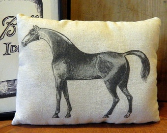 Horse Pillow Handmade Tea Dyed Feed Sack Pillow - Cupboard Tuck - Equestrian Pillow Farmhouse Decor