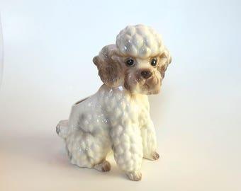 Vintage Poodle Planter Ceramic Relpo 2030 French Poodle Made in Japan Dog Planter