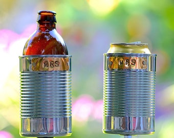 MRS & MRS- 2 Hobo Tin Can Beer Holders/ Garden Drink Holders/ Same Sex Gay Wedding Gift/ Tin Anniversary Gift/ 10 Year Anniversary Present