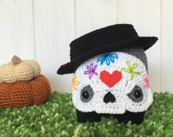 Embroidered Skull Stuffie ~ Halloween ~ Day of the Dead