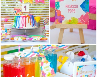 Custom Colorful Neon Art Birthday Party Collection Kit - Custom Birthday Invitations, Banner, Favors Tags, Cupcake toppers