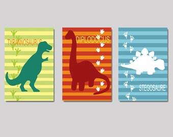 3 colorfull illustrations of dinosaurs for chil's room, dinos, nursery, wall art, wall decor, children art, kids dinosaur art
