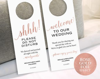 Rose Gold Wedding Door Hanger Template, Do Not Disturb Hanger, Printable Door Hanger, Editable Door Hanger, PDF Instant Download, MM01-7