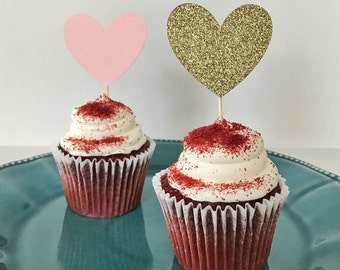 LARGE Heart Cupcake Topper, Gold Heart Cupcake Toppers, Pink and Gold Cupcake Topper, Pink and Gold Hearts, Wedding Cupcake Toppers
