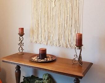 "Large Macrame Wall Hanging Bamboo Window Curtain Boho ""Adagio"""