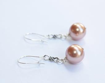Infinity Copper Pearl Earrings, Sterling Silver Infinity Charm, Sterling Silver Ear Wires