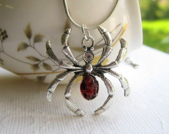 Ruby Red Spider Necklace, Holloween Costume Jewelry, Silver Large, Black Widow, Stained Glass Gemstone,