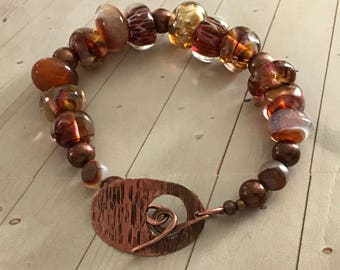 Handcrafted Lampwork Bracelet with Artisancrafted Copper Toggle Clasp: in yummy shades of root beer, butterscotch & copper