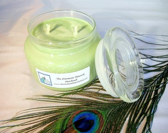 Patchouli Scented Soy Candle 12 oz Apothecary Jar Green