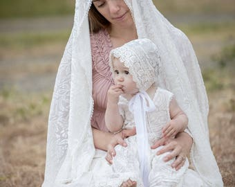 Silk velvet Mother's Shawl~ Mother Daughter Christening set, nursing cover, Burnt out silk Receiving blanket, white, infant photo prop wrap