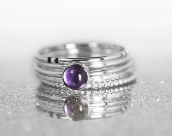 Stacking ring set, Amethyst stacking ring, 5 stacking rings, purple stone stacking rings, skinny stacking set