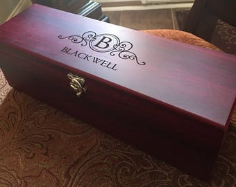 Rosewood Stained Single Wine Box (Initial/ Last Name)