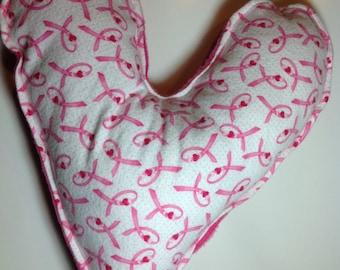 "Sensory cuddle heart ""armpit"" pillows - pink ribbon"