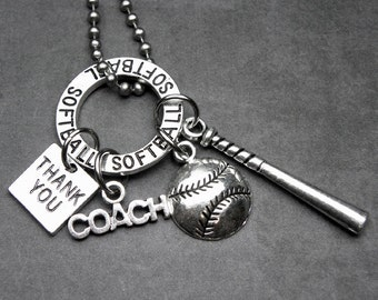 SOFTBALL Coach Thank You Charm Necklace or Key Chain Keychain, Coach Gift