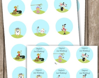 Mother Goose Nursery Rhyme Stickers Tags or Cupcake Picks INSTANT DOWNLOAD Editable