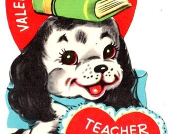 Vintage Puppy To My Valentine Teacher Die-Cut Children's Classroom Valentine's Day Card UNUSED