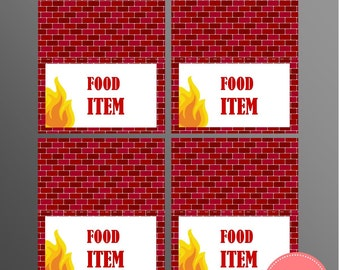 PRINTABLE Fire Truck (Brick) Food Labels (Customizable)