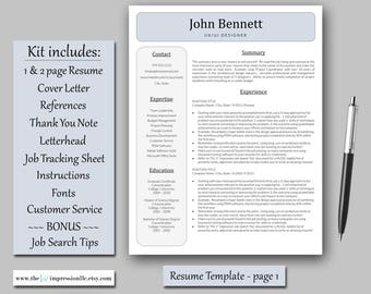 Resume Template | Instant Download | Microsoft Word (PC compatible) | US Letter and A4 Size Templates | BONUS Job Search Tips & Tracker