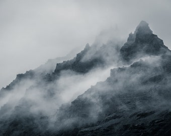 Mountains Digital Photo - Misty Mountains - Mountains Photo - Misty - Black and White - Digital Photo - Digital Download - Wall Art