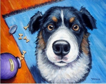 "Australian Shepherd Art Print of Original Acrylic Painting  ""Naughty Aussie"""