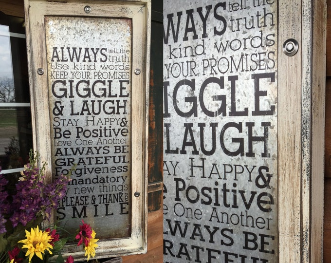 Wall Art GIGGLE & LAUGH Cream Framed Industrial Metal Home Decor Reclaimed Wood Vertical Smile Love Happy Please Family Rules Thank You Joy