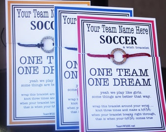 12 Girl's Soccer Wish Bracelets ... Dunkin - Pick Your Color ... Great for Team Gifts, Team Spirit, and More!