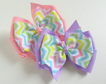 Pink or Purple Chevron Pinwheel Bow - No Slip Velvet Grip Hair Clip
