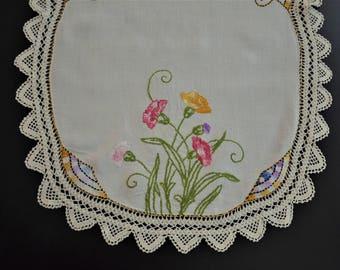 Vintage Hand Embroidered Dresser Scarf,  Vintage Linen