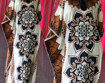 Alfred Shaheen Dress 70s Hawaiian Kimono Tiki Caftan Vintage 70s Alfred Shaheen Caftan