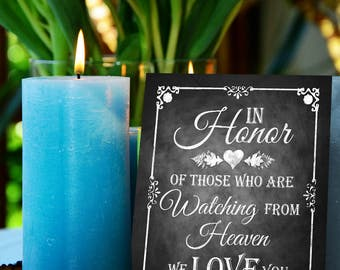 Watching from Heaven Chalkboard Printable Wedding Sign, Memorial Sign, Rustic Wedding Sign, Chalkboard Sign, DIY Wedding, Lost Loved Ones