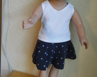 18 inch Doll Clothes, Blue Polka Dot Print Skater Skirt, White Tank Top and Red Sandals, 3 piece outfit, Doll Skater Skirt, Handmade
