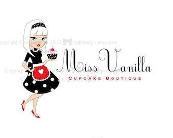 SALE Character illustrated Premade Miss Vanilla Logo design -