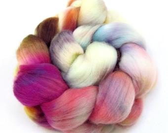 Hand dyed Polwarth & Nylon blend Combed Wool Top Superwash Sock Knitting Yarn 100g PN07