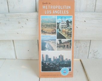 Vintage downtown Los Angeles road map California street guide 1980s- free shipping US