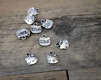 1 charm pendant Butterfly metal silver 12mm high