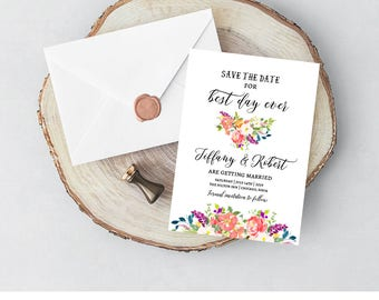 Summer Save the Date Template, Summer Floral Save the Date Invite, Summer Save the Date Cards, Watercolor Save the Date Cards, Printable, F8