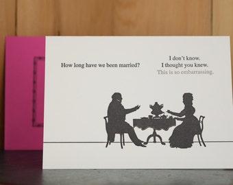 How Long - letterpress anniversary card