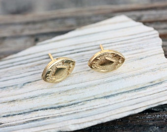 Oval Studs Gold, Small Gold Studs, Marquise Studs, Gold Marquise Studs, Geometric Gold Studs, Vintage Gold Studs, Gold Studs, Round Studs