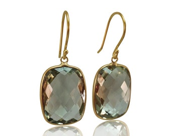 Natural Prasiolite 14K Yellow Gold Hallmark Dangle Earrings Green Amethyst Gold Earrings February Birthstone Jewelry