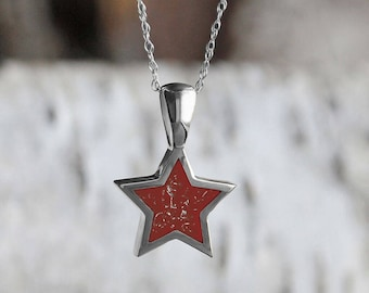 Customizable Red Stardust Pendant Necklace, Sterling Silver Star Pendant With Meteorite Shavings, Rope Chain Necklace, Star Jewelry