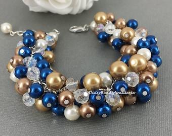 Pearl Bracelet Bridesmaid Gift Navy Bracelet Champagne Bracelet Bridesmaid Bracelet Gift for Her Wedding Jewelry Gift Idea for Bridesmaid