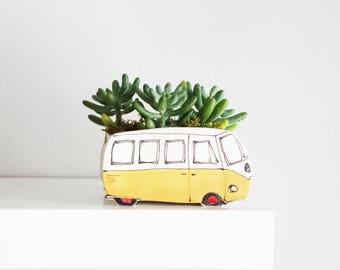 Yellow Westfalia ceramic planter. Small ceramic planter. Perfect cactus or succulent planter. Unique planter! Perfect gift