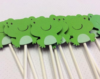 12 Troy the Ribbit Ribbit Frog Cupcake toppers
