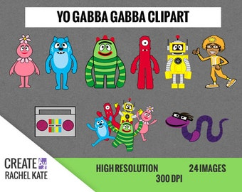 Yo Gabba Gabba Clipart Set for Digital Scrapbook Paper Pack
