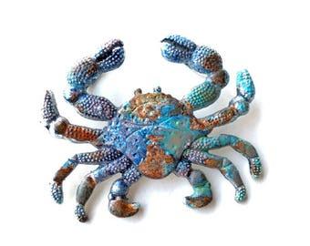 Blue Patina Crab Pendant, Verdigris Crab Pendant, Salty Sea Life Pendant, Crusty Crustacean, Ancient Alchemy, Dry Gulch, 1 Pc, Poseidon